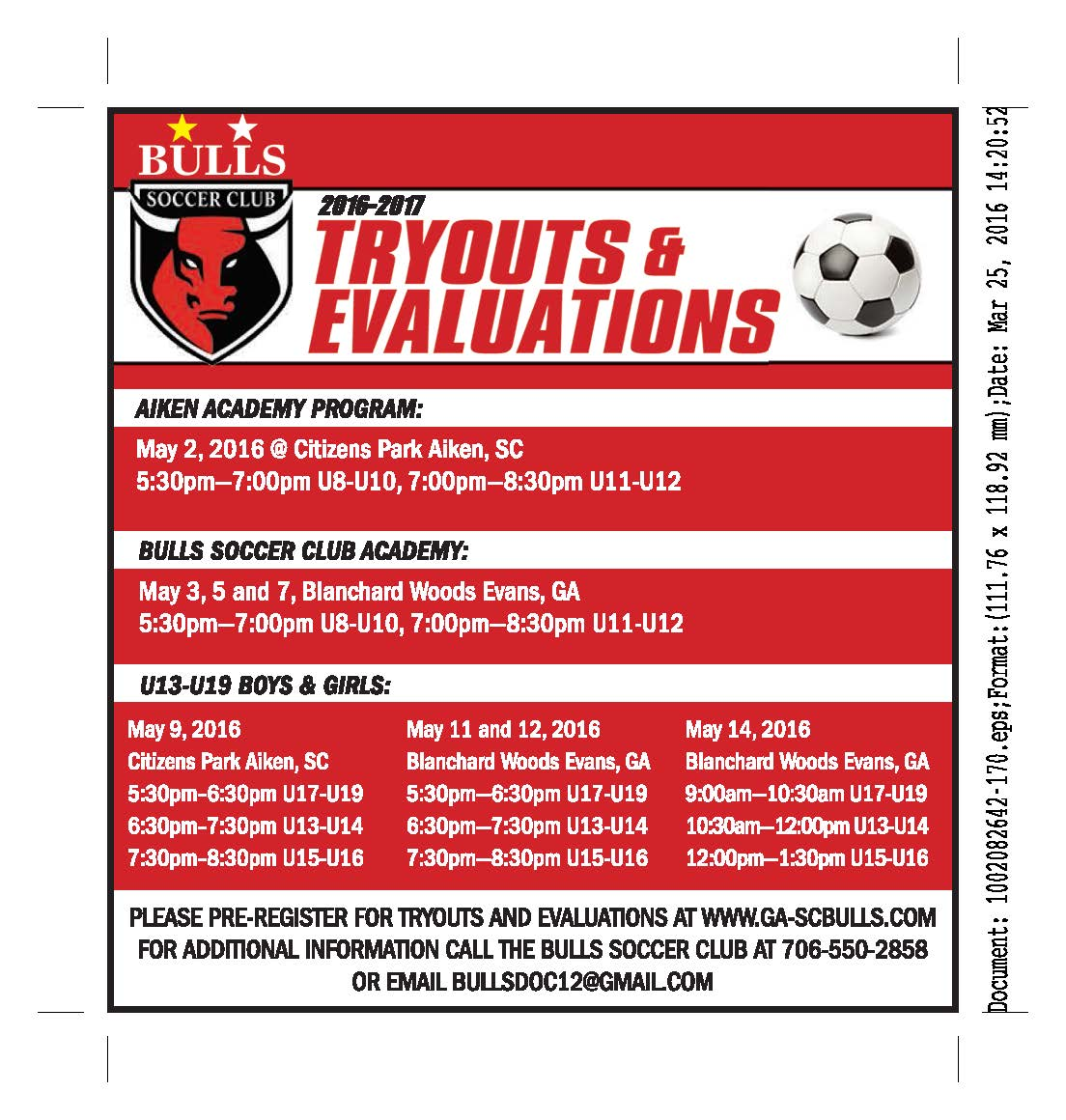 2016-2017 Fall Tryouts and Evaluations